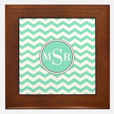Mint Blue-Green Gray Monogram Chevron Framed Tile