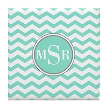 Mint Blue-Green Gray Monogram Chevron Tile Coaster