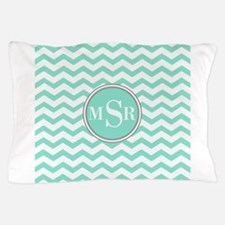 Mint Blue-Green Gray Monogram Chevron Pillow Case