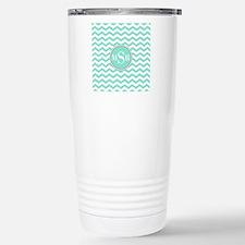 Mint Blue-Green Gray Monogram Chevron Travel Mug