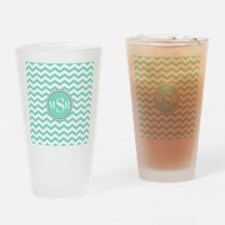 Mint Blue-Green Gray Monogram Chevron Drinking Gla