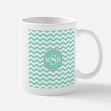 Mint Blue-Green Gray Monogram Chevron Mugs