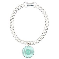 Mint Blue-Green Gray Monogram Chevron Bracelet