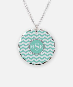 Mint Blue-Green Gray Monogram Chevron Necklace