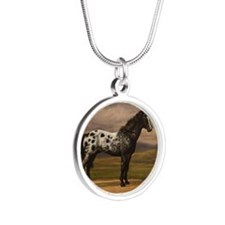 Cute Appaloosa Silver Round Necklace