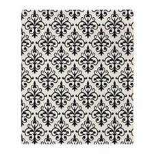 White & Black Damask 41 Throw Blanket