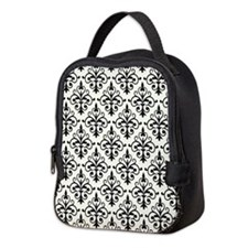 White & Black Damask 41 Neoprene Lunch Bag