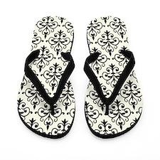 White & Black Damask 41 Flip Flops