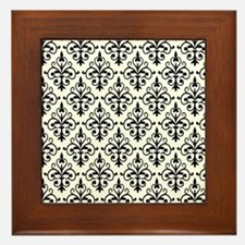 White & Black Damask 41 Framed Tile