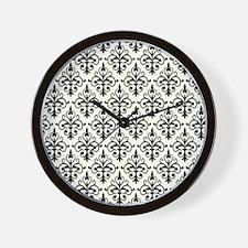 White & Black Damask 41 Wall Clock