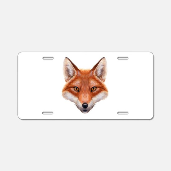 Red Fox Face Aluminum License Plate