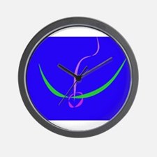 Bow and Arrow Solid Blue Wall Clock