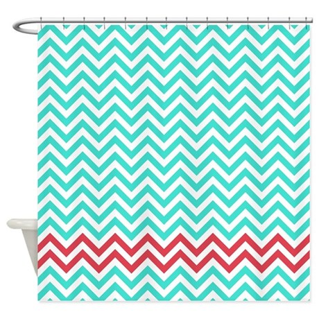 Turquoise And Raspberry Red Zigzags Shower Curtain By Erics Designz