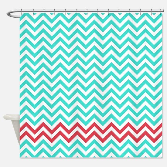 red and teal shower curtain. Turquoise and Raspberry red zigzags Shower Curtain Red And Curtains  CafePress