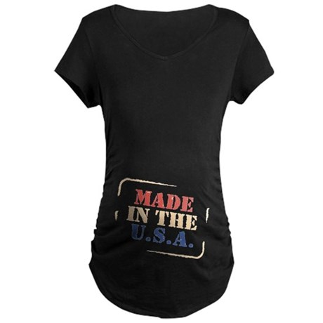 100% American Red White and B Maternity Dark T-Shi