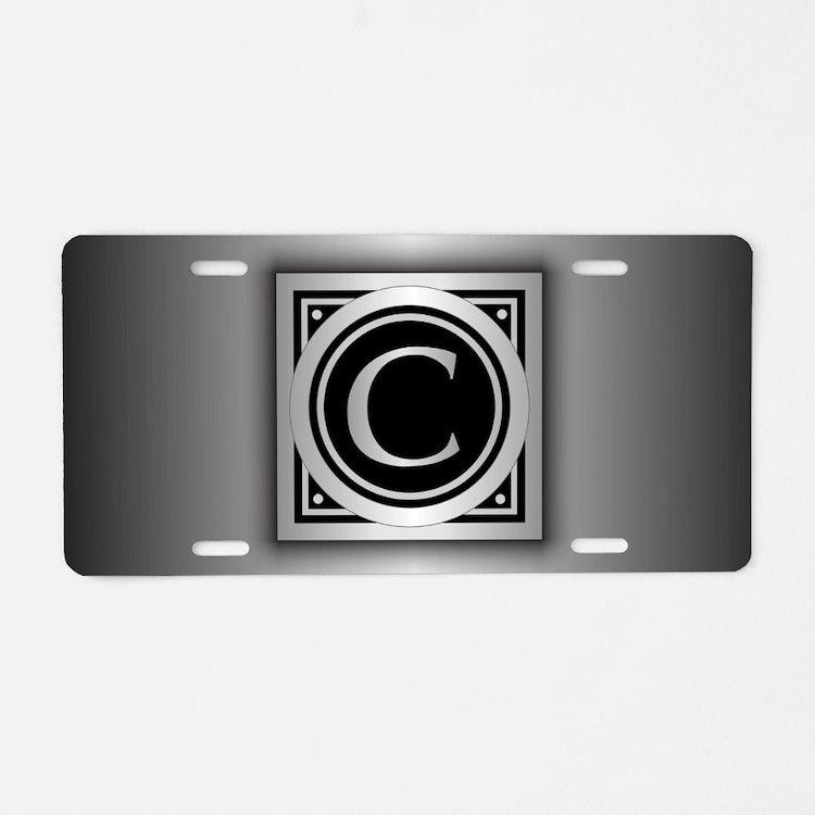 Deco Monogram C Aluminum License Plate