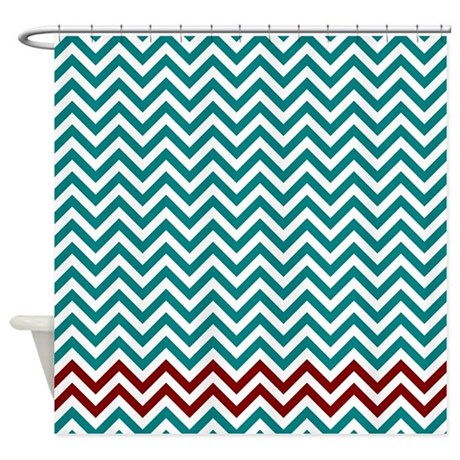 Teal And Dark Red Zigzags Shower Curtain By