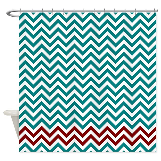 Teal And Dark Red Zigzags Shower Curtain By Laughoutlouddesigns1