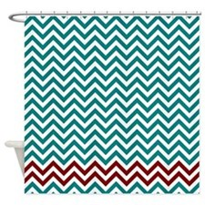 Teal and dark red zigzags Shower Curtain