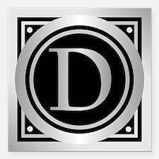 """Deco Monogram D Square Car Magnet 3"""" x 3"""""""