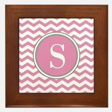 Any Letter, Pink White Gray Chevron Monogram Frame