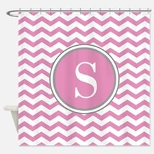 Any Letter, Pink White Gray Chevron Shower Curtain