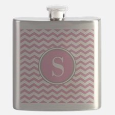 Any Letter, Pink White Gray Chevron Monogram Flask