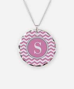 Any Letter, Pink White Gray Chevron Monogram Neckl