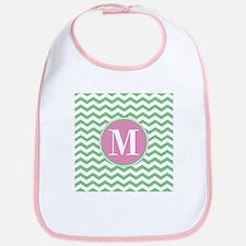 Any Letter, Pink and Green Chevron Monogram Bib
