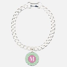 Any Letter, Pink and Gre Bracelet