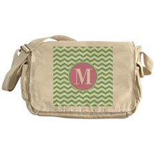 Any Letter, Pink and Green Chevron M Messenger Bag