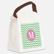 Any Letter, Pink and Green Chevro Canvas Lunch Bag