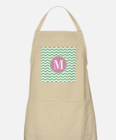 Any Letter, Pink and Green Chevron Monogram Apron