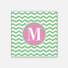 "Any Letter, Pink and Green Square Sticker 3"" x 3"""
