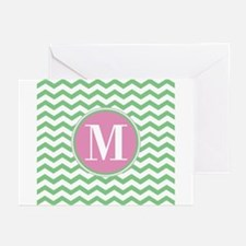 Any Letter, Pink and Gre Greeting Cards (Pk of 10)