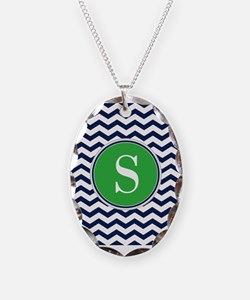 Any Letter, Navy Blue and Gree Necklace