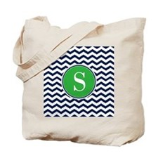 Any Letter, Navy Blue and Green Chevron M Tote Bag