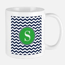 Any Letter, Navy Blue and Green Chevron Mug