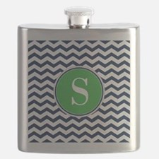 Any Letter, Navy Blue and Green Chevron Mono Flask