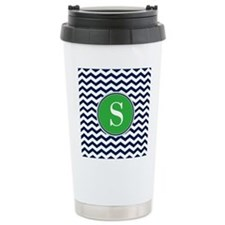 Any Letter, Navy Blue a Thermos Mug