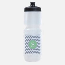Any Letter, Navy Blue and Green Chev Sports Bottle