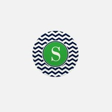 Any Letter, Navy Blue and Green Chevro Mini Button
