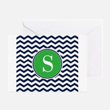 Any Letter, Navy Blue and Green Chev Greeting Card