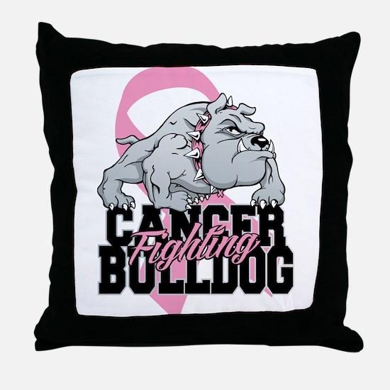 Breast Cancer Bulldog Throw Pillow