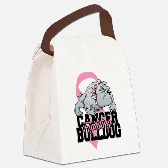 Breast Cancer Bulldog Canvas Lunch Bag