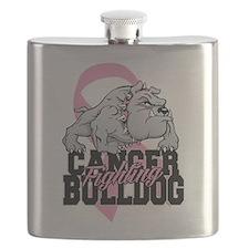 Breast Cancer Bulldog Flask