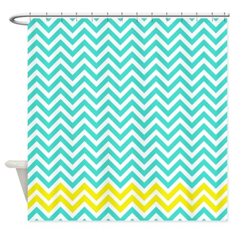 Turquoise and yellow zigzags shower curtain by - Turquoise and yellow curtains ...