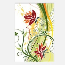 Stylish Abstract Floral D Postcards (Package of 8)