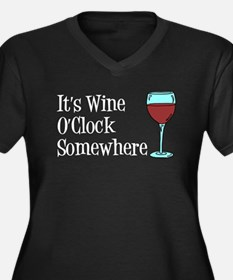 Wine OClock Somewhere Plus Size T-Shirt