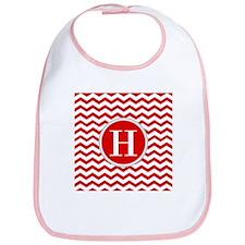 Any Letter, Red and White Chevron Monogram Bib